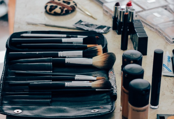 Makeup brushes and foundation